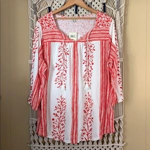 Lucky Brand peasant top, plus size